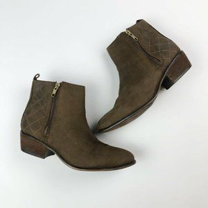 Steve Madden Brown Leather Zip Ankle Fashion Boots